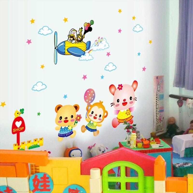 吉朵芸幼儿园教室环境布置墙面装饰贴画卧室儿童房卡通动物可移除墙