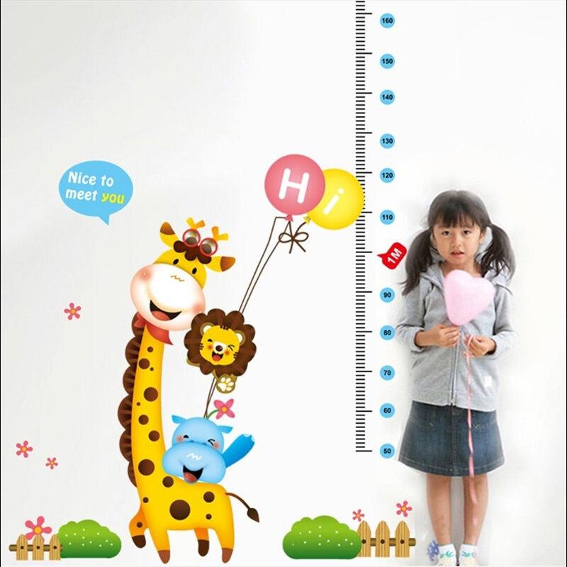 幼儿园装饰墙壁上贴纸儿童房卧室可移除卡通墙贴画长颈鹿量身高贴贴后