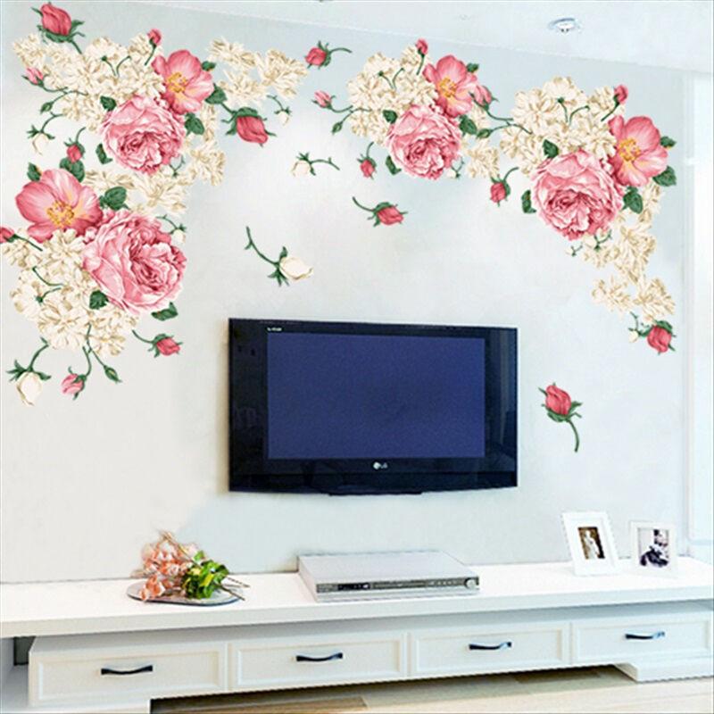 天香客厅电视背景墙壁贴纸卧室沙发家装饰可移除影视墙贴贴画富贵牡丹