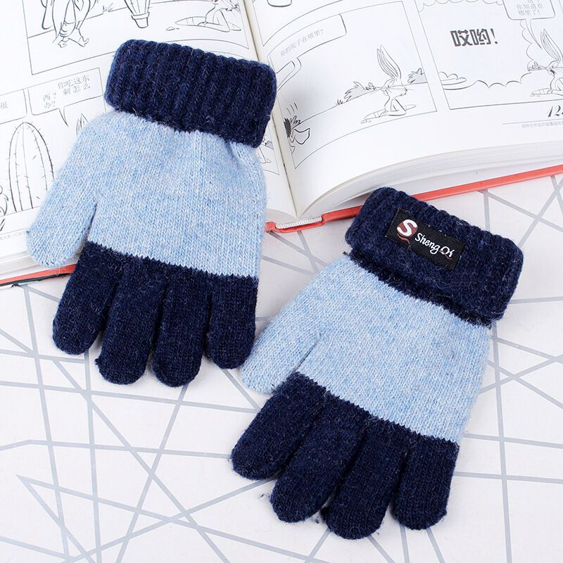 男女童保暖秋冬季加厚加绒毛线针织宝宝小学生韩版可爱棉手套