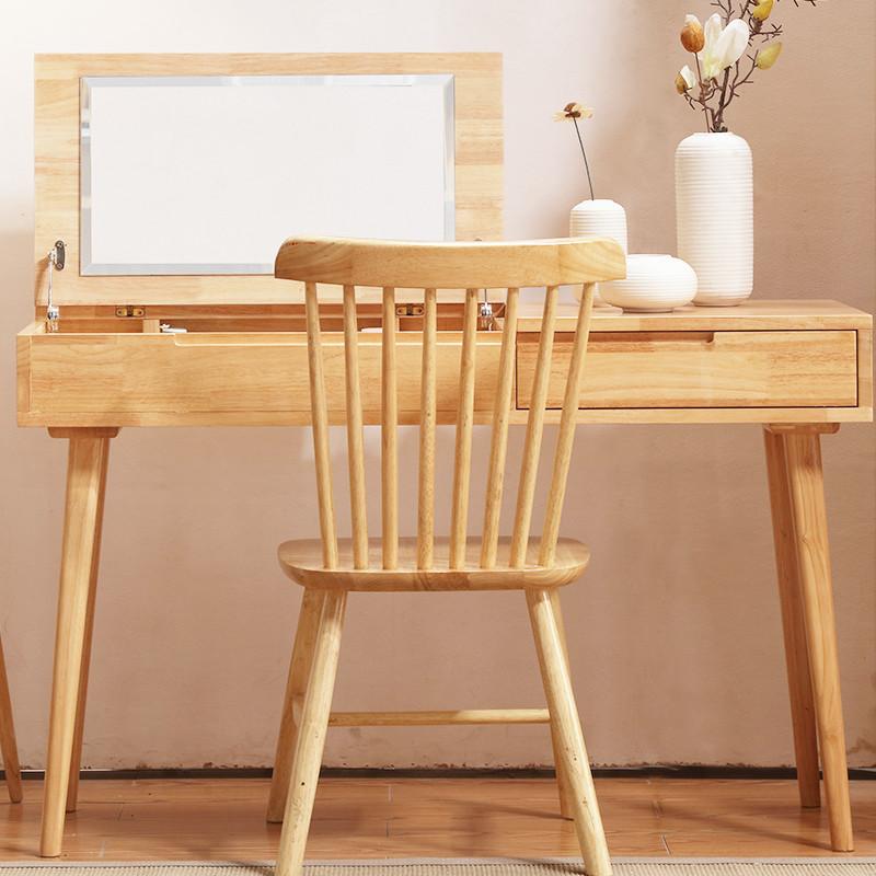 卧室简约现代木质化妆桌原木化妆台带镜子带凳子北欧风格卧室套房家具