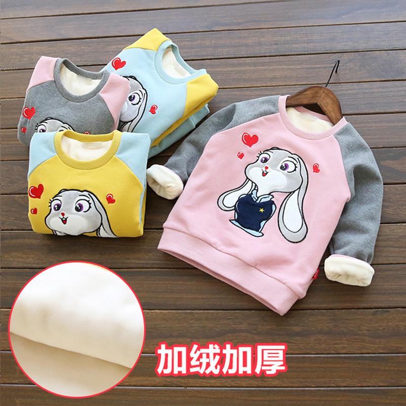 小龙王童装女童秋冬装套头新款加厚韩版上衣外套宝宝儿童秋冬季加绒