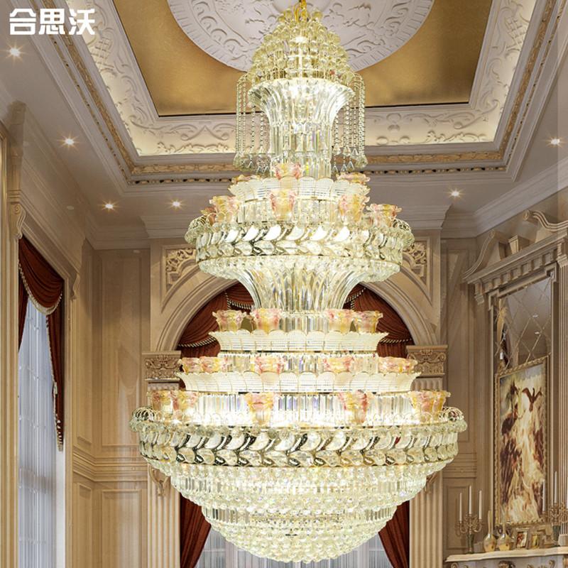 别墅复式楼客厅大吊灯欧式豪华酒店工程大厅楼中楼水晶吊灯