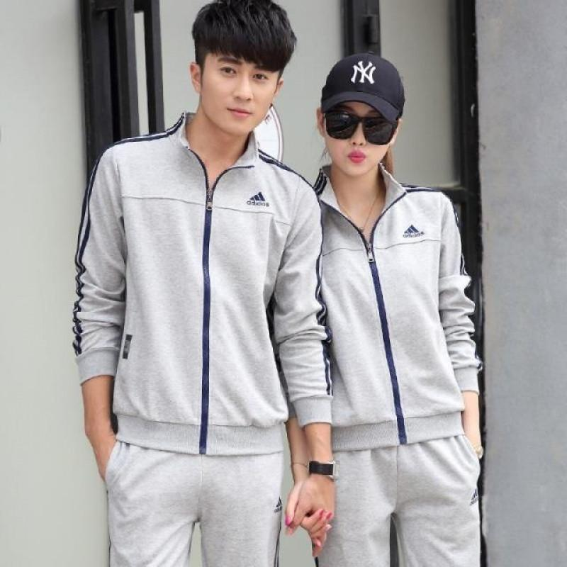 adidas阿迪达斯运动套装2017春新款三叶草男女运动服外套时尚休闲修身
