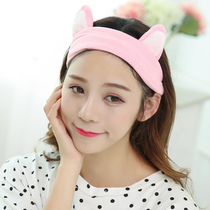 洗脸发带发箍猫耳朵束发带韩国可爱头饰头巾女敷面膜化妆发 粉色