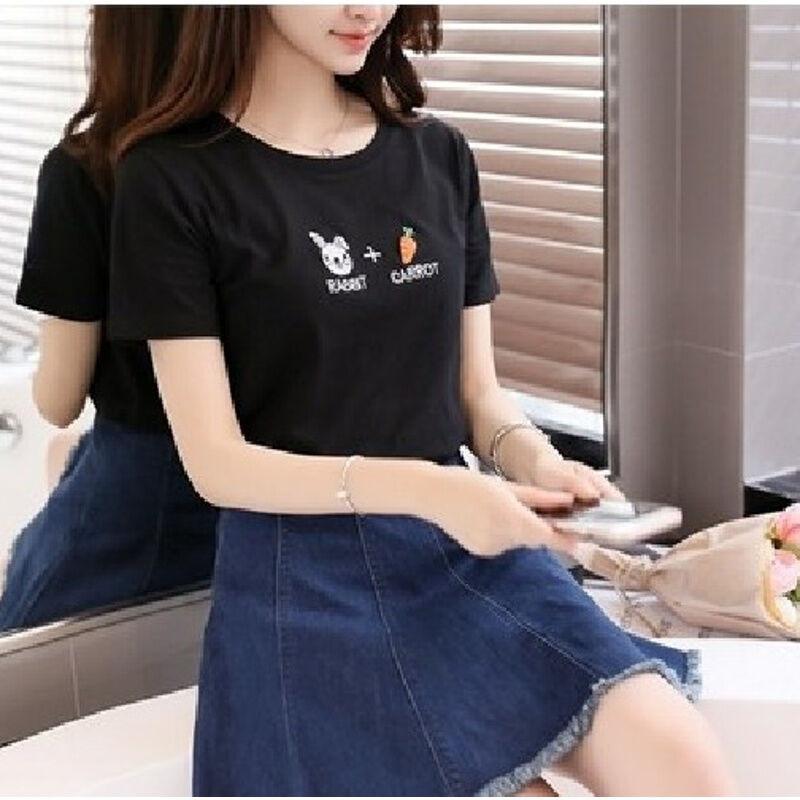 vanled2017韩版百搭时尚女装夏装学生新款刺绣宽松黑上衣短袖t恤潮