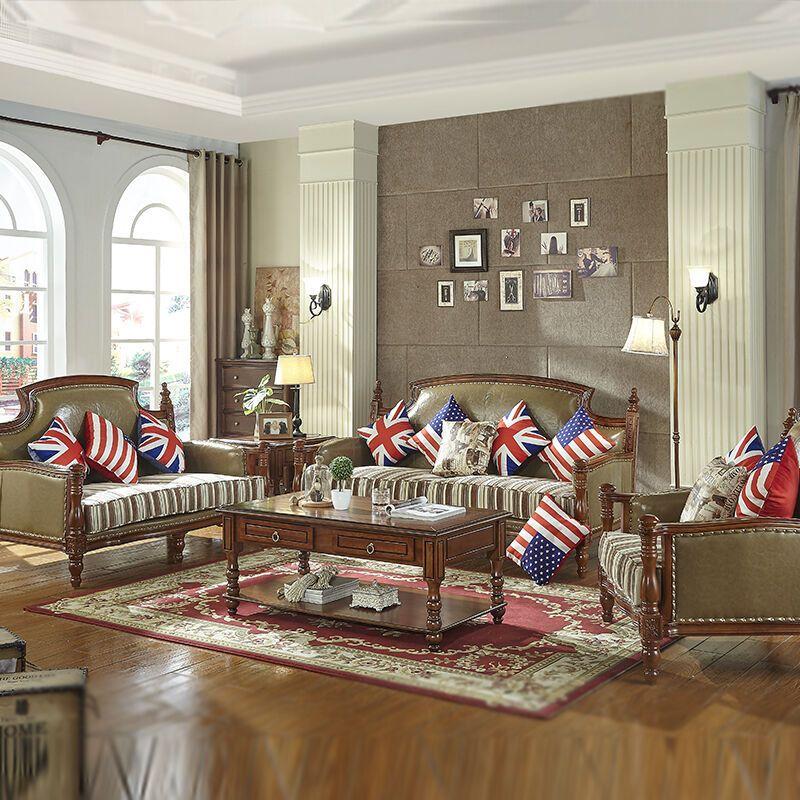 美式沙发 全实木大户型欧式皮沙发乡村皮布沙发组合客厅家具图片