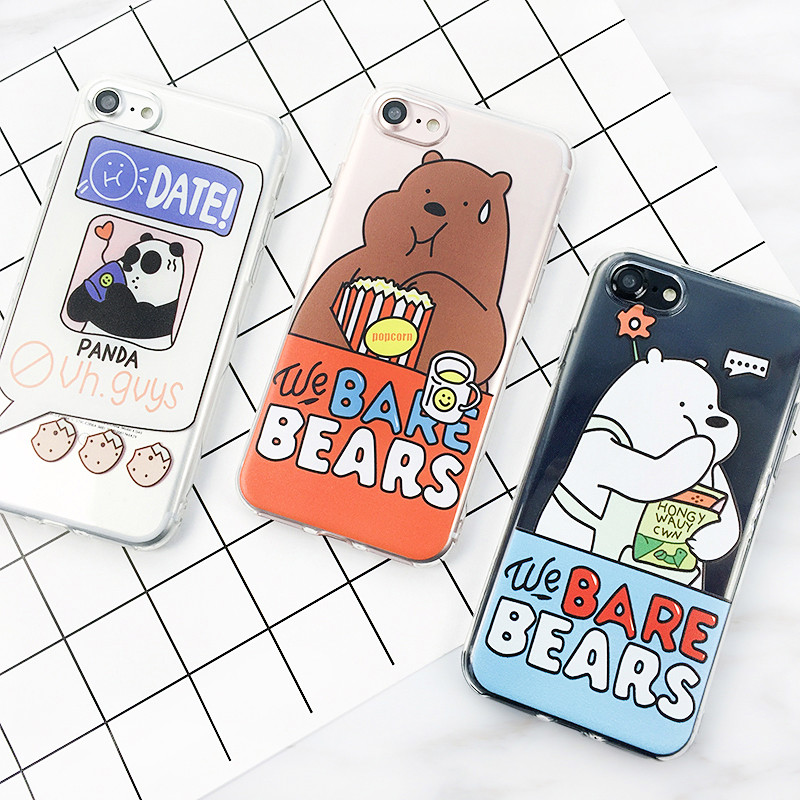 【包邮】iphone8手机壳8plus卡通可爱咱们裸熊iphone7软壳7plus三只熊