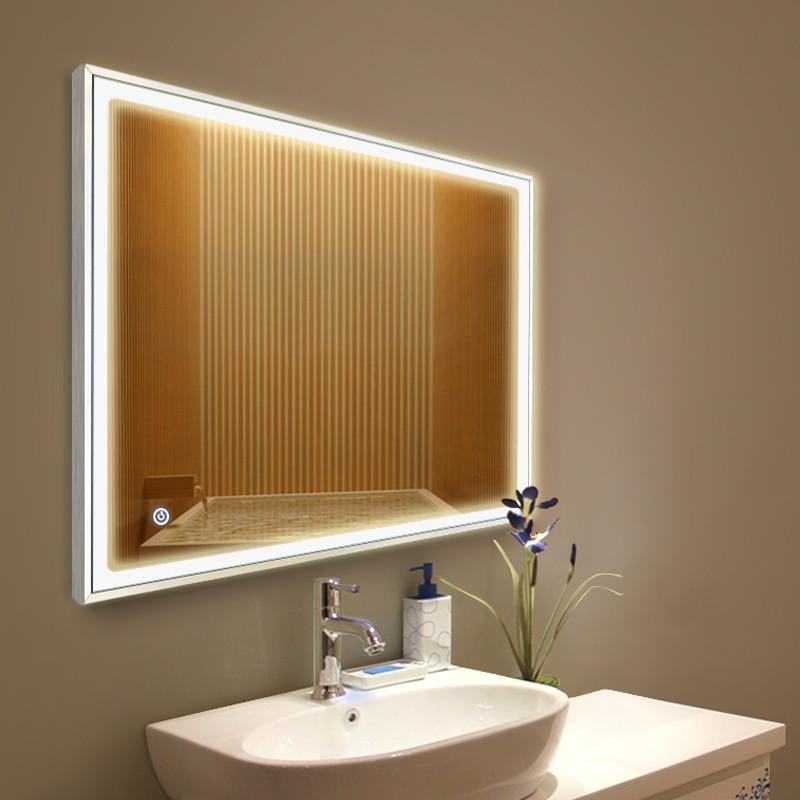 妮多美 铝合金边框带灯光镜子洗手间壁挂浴室卫生间led灯镜卫浴镜