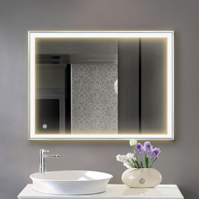 妮多美 铝合金边框带灯光镜子洗手间壁挂浴室卫生间卫浴镜led灯镜