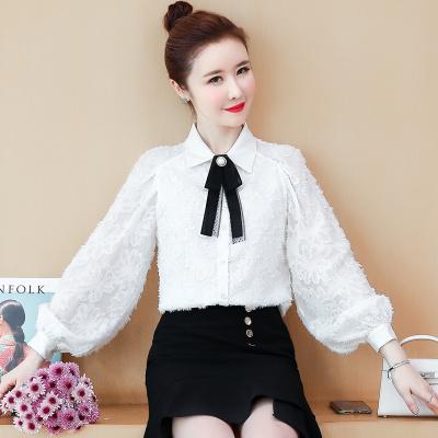 【预售年后发货】2020春季新款蝴蝶结长袖衬衫女宽松雪纺上衣气质灯笼袖雪纺衫
