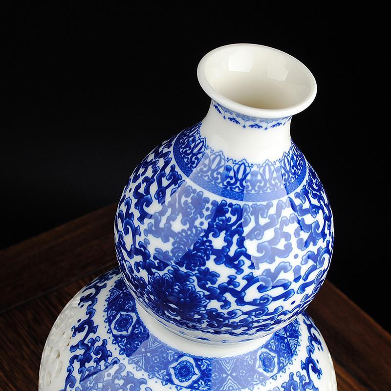 景德镇陶瓷 青花瓷镂空葫芦花瓶 现代家居装饰品摆件