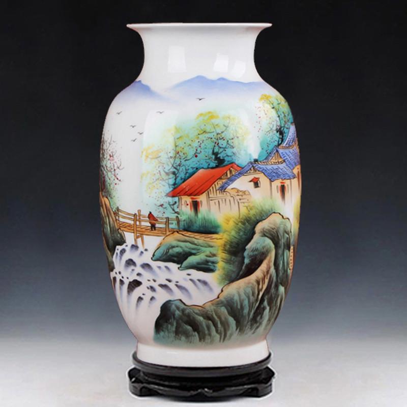 景德镇陶瓷器 名家俞金喜作品 手绘粉彩山水花瓶摆件