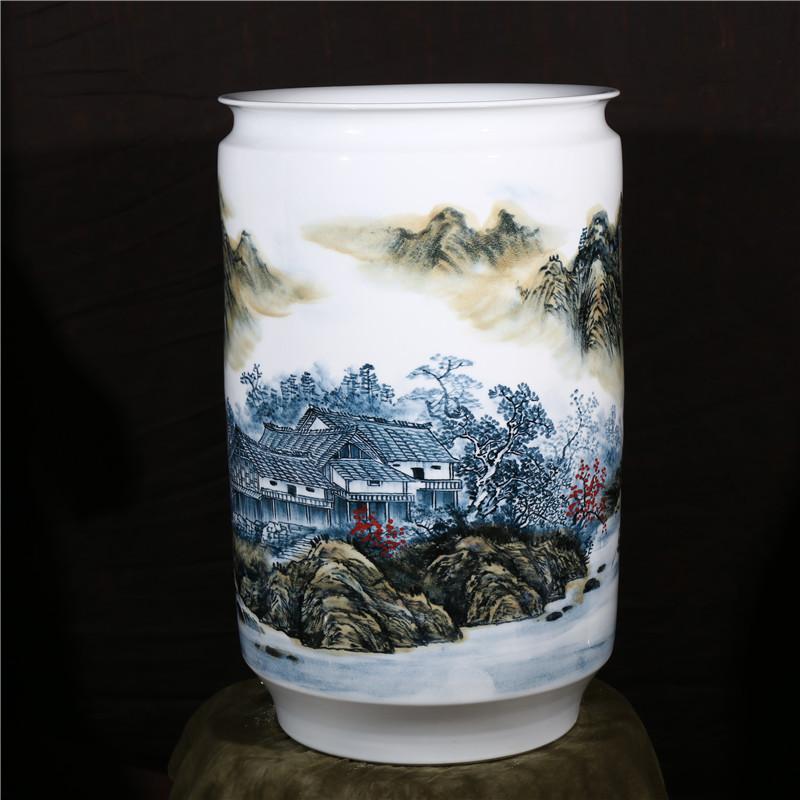 景德镇陶瓷 大师王斌手绘青花山水画花瓶 家居工艺装饰摆件