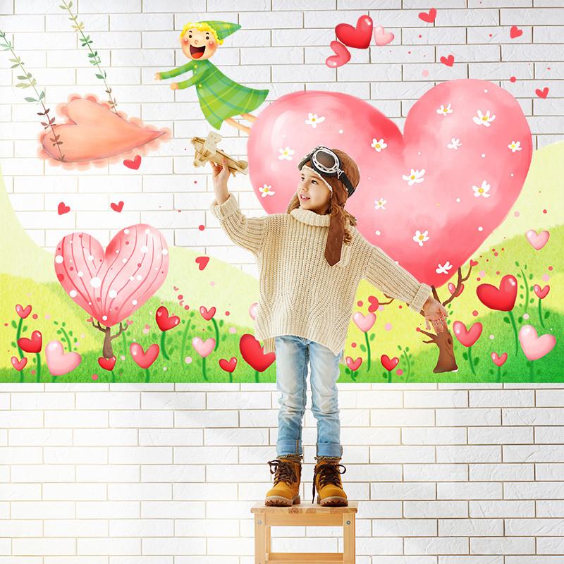 卡通爱心树墙贴 幼儿园教室布置创意贴画儿童房间床头贴纸可移除防水