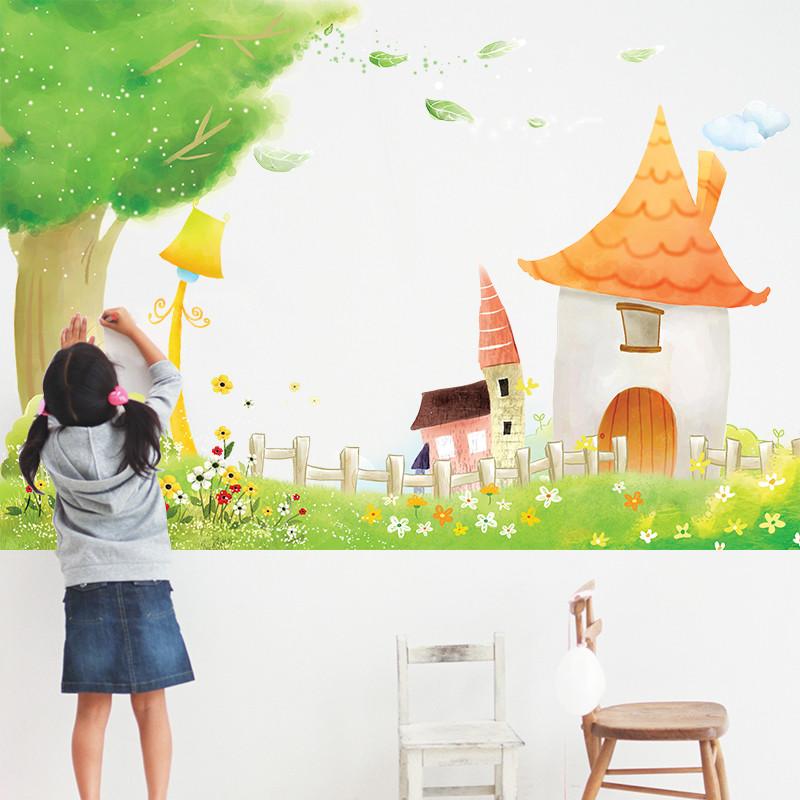 森林小屋墙贴 幼儿园创意班级装饰贴纸宝宝房间布置 防水可移除环保