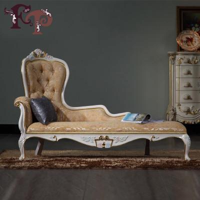 fp家居欧式优雅贵妃床 法式宫廷实木雕花贵妃椅彩绘懒人躺椅 单人沙发