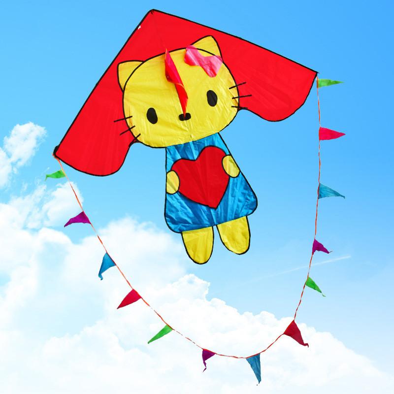 风筝 儿童风筝 卡通彩旗凯蒂猫风筝 三角风筝