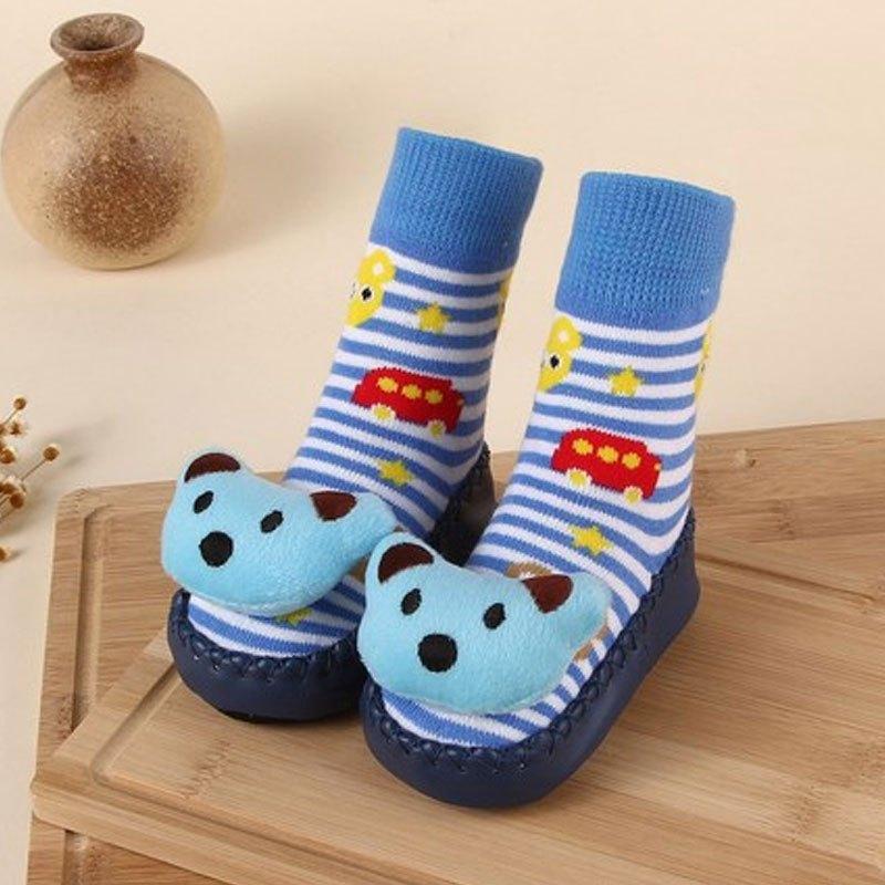 宝宝地板鞋0-1岁学步袜儿童防滑地板袜春厚条纹可爱卡通男女宝宝婴童
