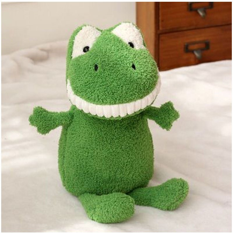 可爱卡通微笑呲牙露齿大牙小孩子公仔竹炭毛绒玩具恐龙猫猪狗驴兔玩偶
