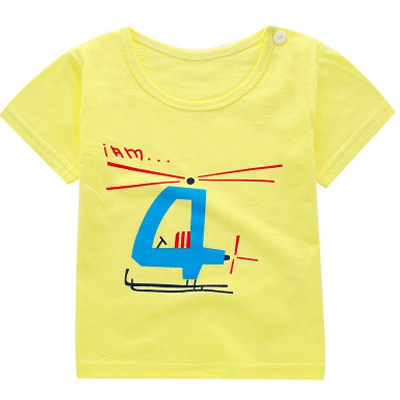 卡通圆领百搭半袖上衣夏装2017新品夏天可爱简约休闲上衣小孩子短袖