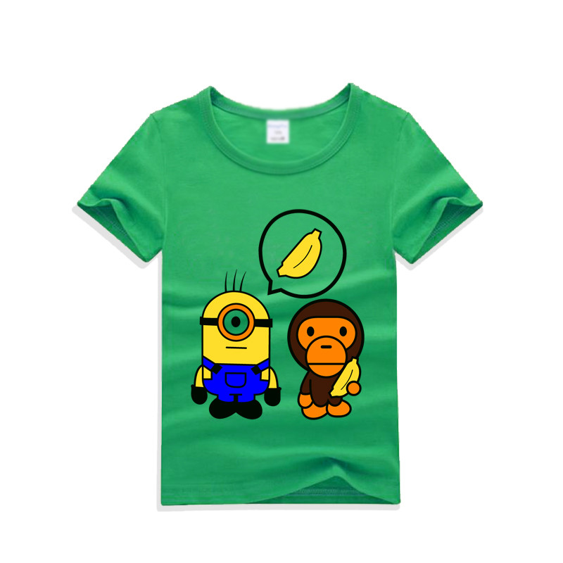 韩版可爱卡通印花儿童短袖t恤上衣2017夏季新款潮圆领