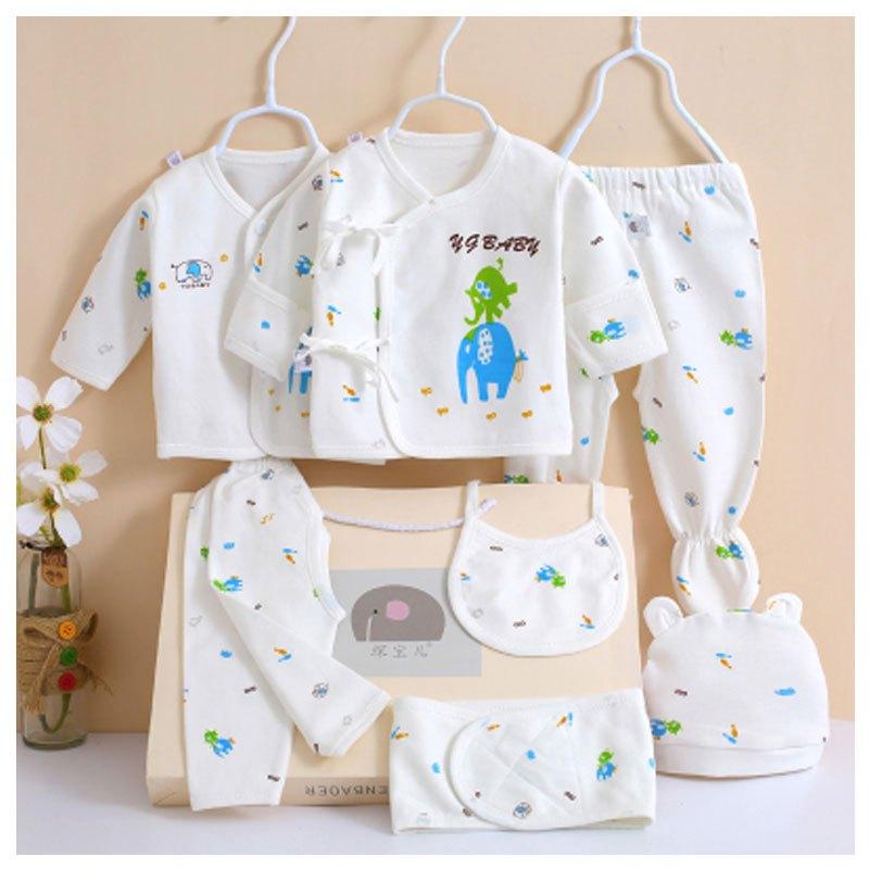 男女宝宝内衣礼盒套装小孩子简约可爱卡通小动物婴儿衣服新生儿礼盒0