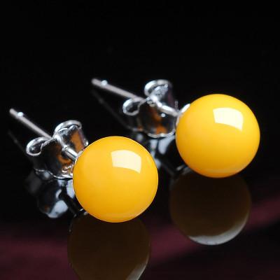 帛蘭梓韻 天然蜜蠟耳釘S925白銀鑲嵌圓珠琥珀蜜蠟耳精美小巧女款琥珀耳飾帶證書