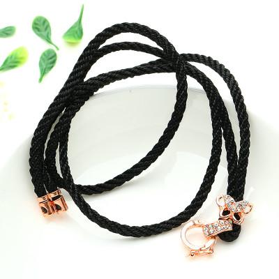 帛蘭梓韻 高檔翡翠掛繩玫瑰金色蝴蝶銅扣玉墜繩子珠寶飾品配飾輔件編織繩