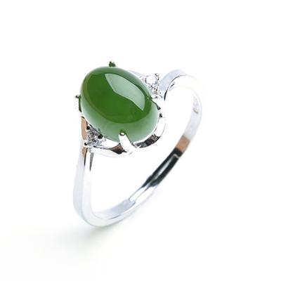 帛蘭梓韻 碧玉戒指和田玉S925銀戒指碧綠寶石女款食指開口戒指指環