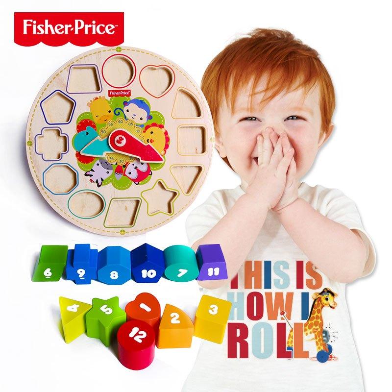 费雪积木时钟 木钟模型 儿童宝宝玩具拼图1-3岁 益智早教拼版fp1023