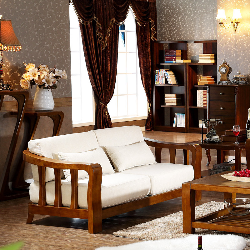 马氏皇庭 中式高端实木沙发组合 客厅单双三人实木转角布艺沙发
