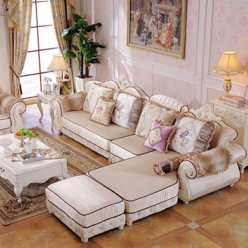 浪漫星 沙发 布艺沙发 法式田园实木脚沙发 欧式宫廷雕花布艺沙发