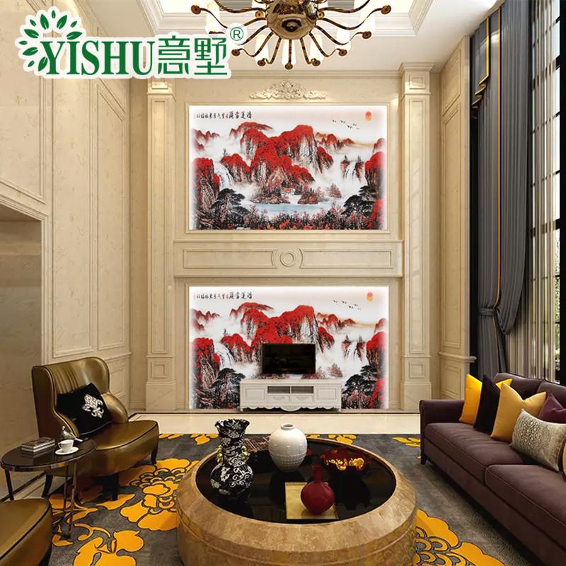 意墅 复式背景墙石材罗马柱边框造型3d高温微晶石电视图片