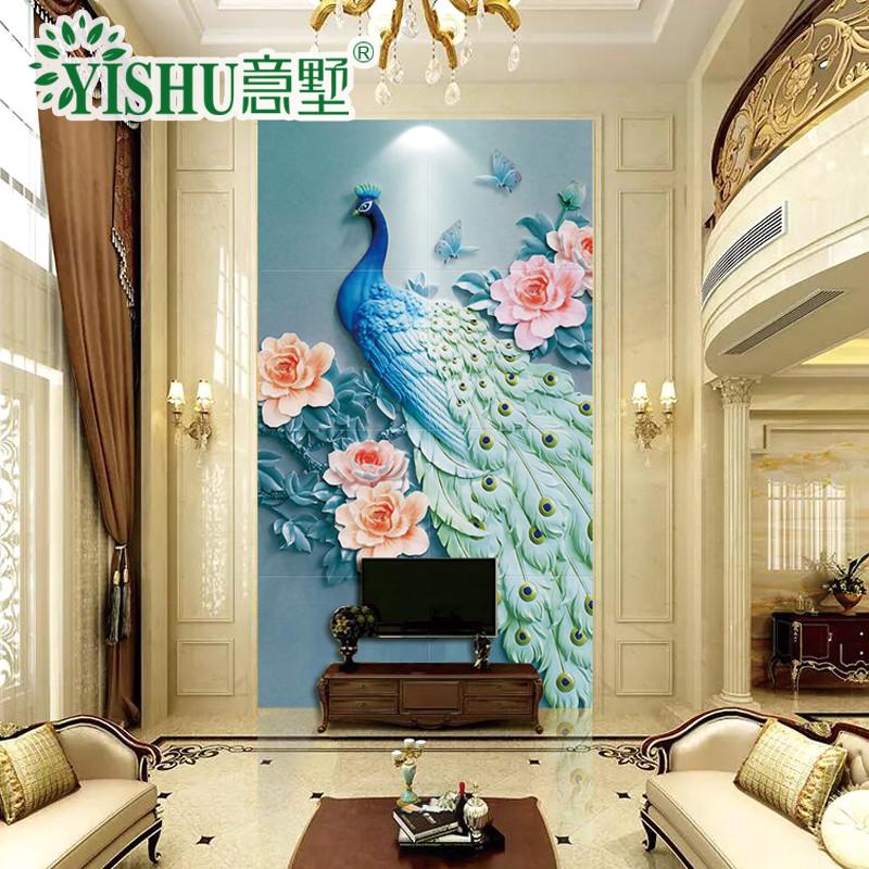 意墅 瓷砖背景墙3d浮雕现代清新复式客厅电视背景墙玄关过道墙壁画