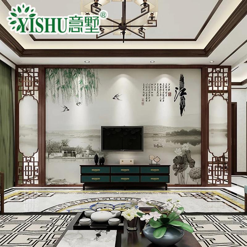 现代中式花鸟图纹国画水墨山水壁画影视墙造型装饰瓷砖背景墙忆江南