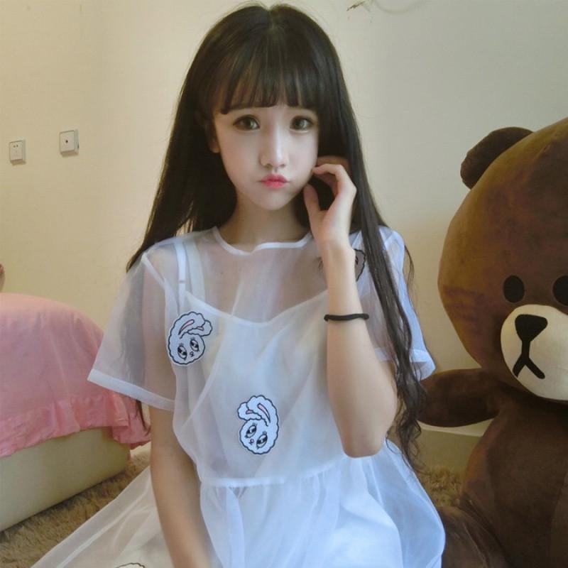 20172017新款夏季女装韩版学生少女小清新软妹短袖连衣裙两件套裙子萌