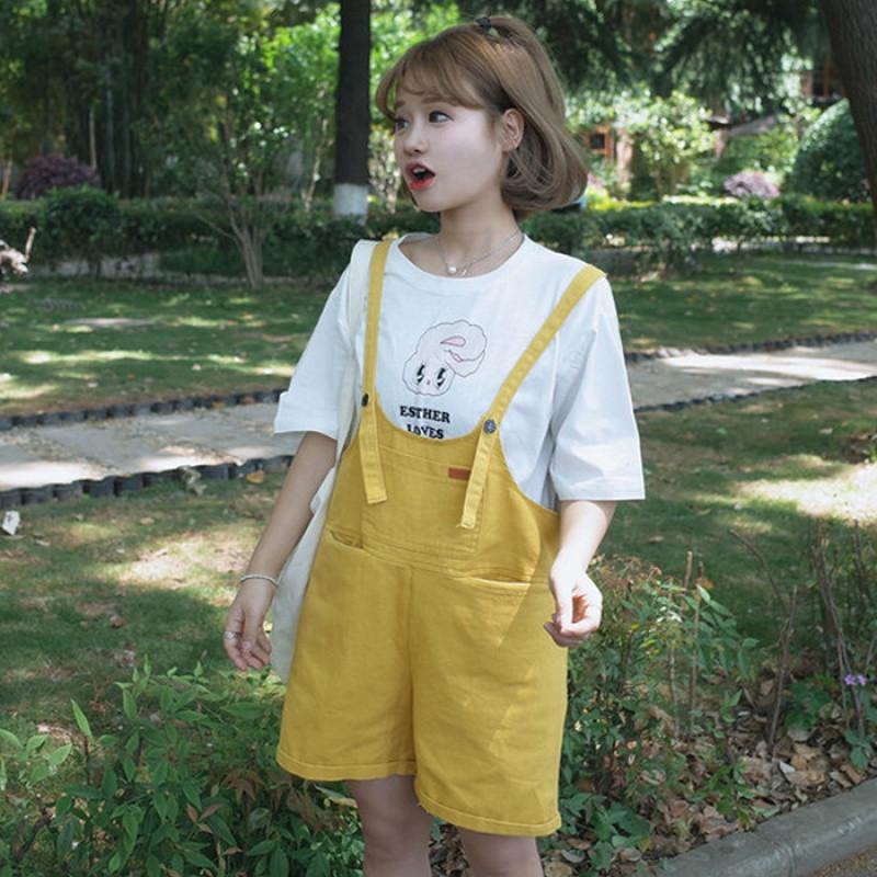 20172017夏装新款韩版学院风可爱背带裤宽松阔腿短裤百搭卷边牛仔裤女