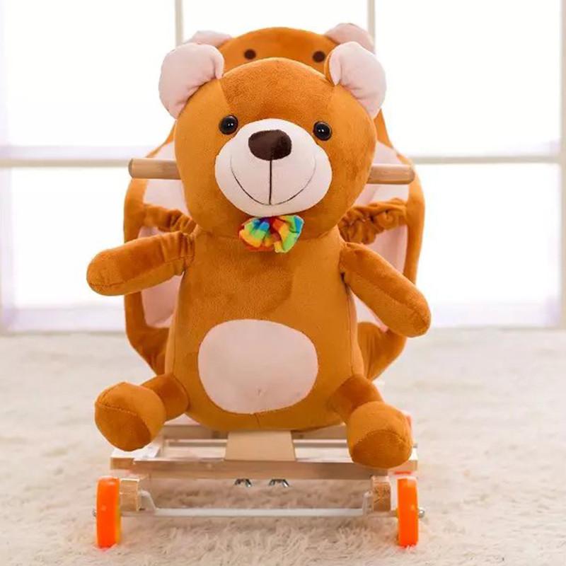 可爱布丁 卡通音乐两用儿童摇摇马木马摇摇车 靠背款棕色小熊图片