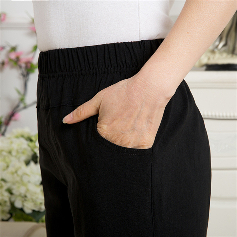 中老年女裤松紧腰春秋全棉50-60岁妈妈裤子加肥加大老人休闲长裤