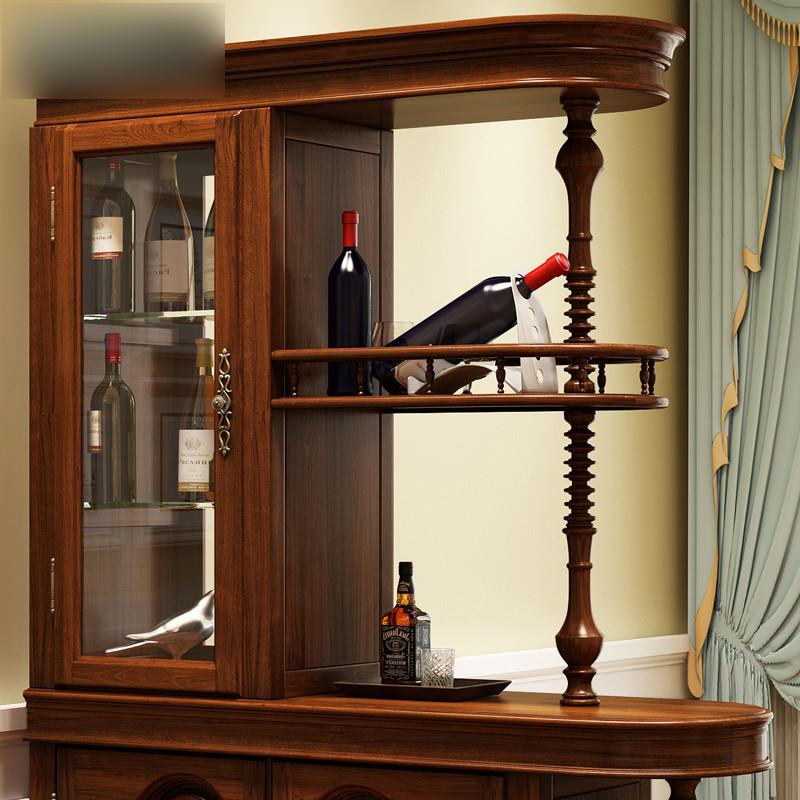 淮木 龙抬头全实木雕花玄关柜 美式别墅间厅柜 客厅隔断酒柜