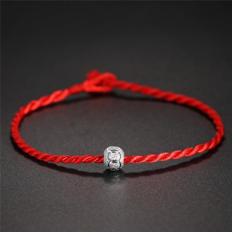 彩丽馆 宝宝儿童桃核篮红绳手链手工编织手串脚链银珠