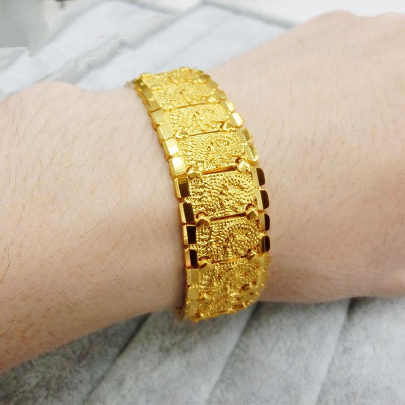 彩丽馆 黄金色手环宽版手链男款仿黄金手饰品
