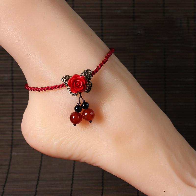 彩丽馆 玫瑰花编织脚链红玛瑙圆珠吊坠饰品女款蝴蝶单层足链饰品