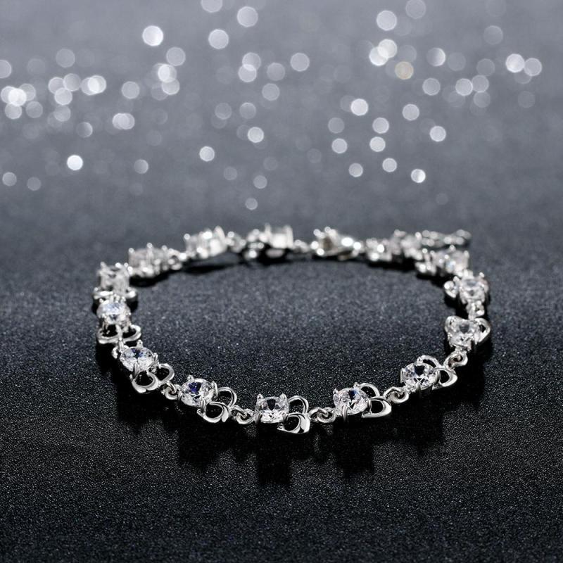 fashion bracelet唯美花纹锆石手链欧美外贸镀925纯银女首饰