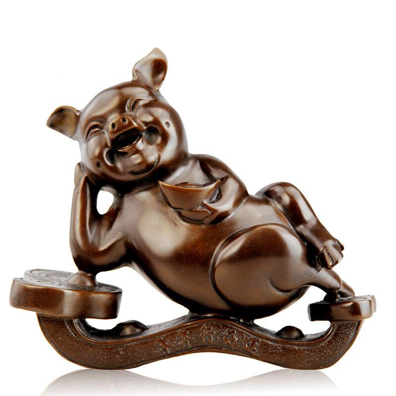 彩丽馆礼品之家 铜猪家居风水装饰品摆设 纯铜猪客厅摆件 生肖猪吉祥