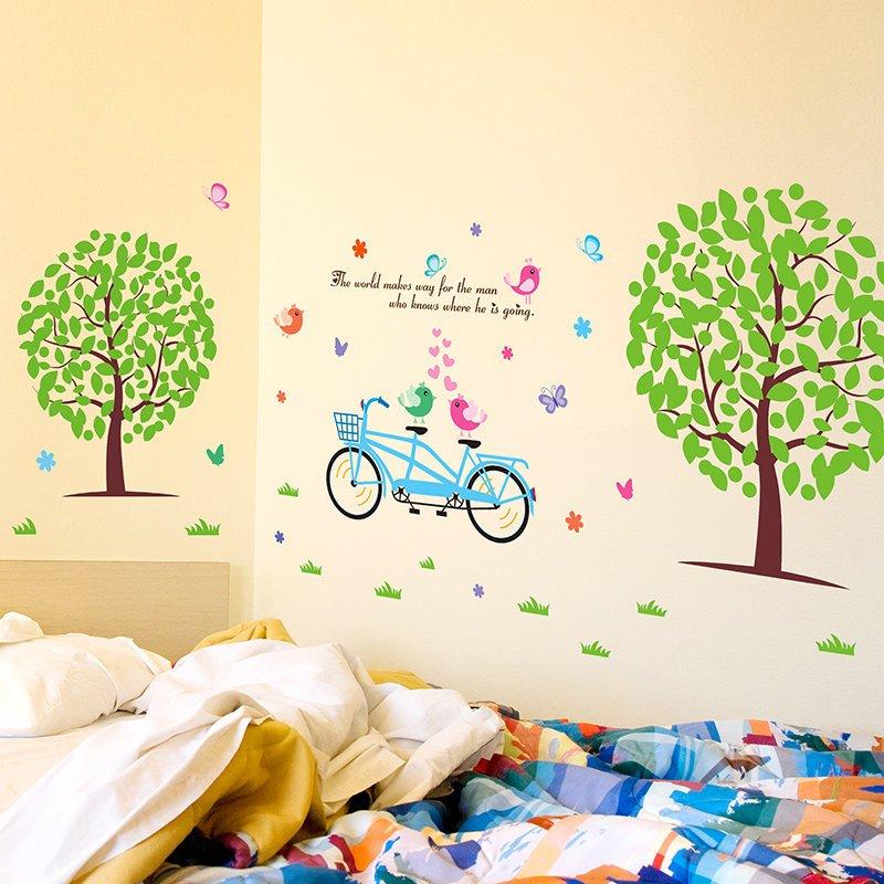 彩丽馆宾曼 卡通墙贴纸贴画幼儿园儿童房间墙壁墙面布置装饰绿色大树
