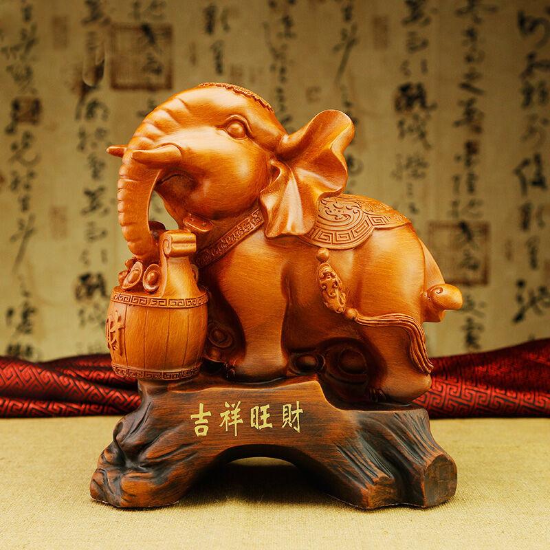 彩丽馆新房客厅电视柜摆设品商务礼品 招财大象摆件一对 风水家居装饰