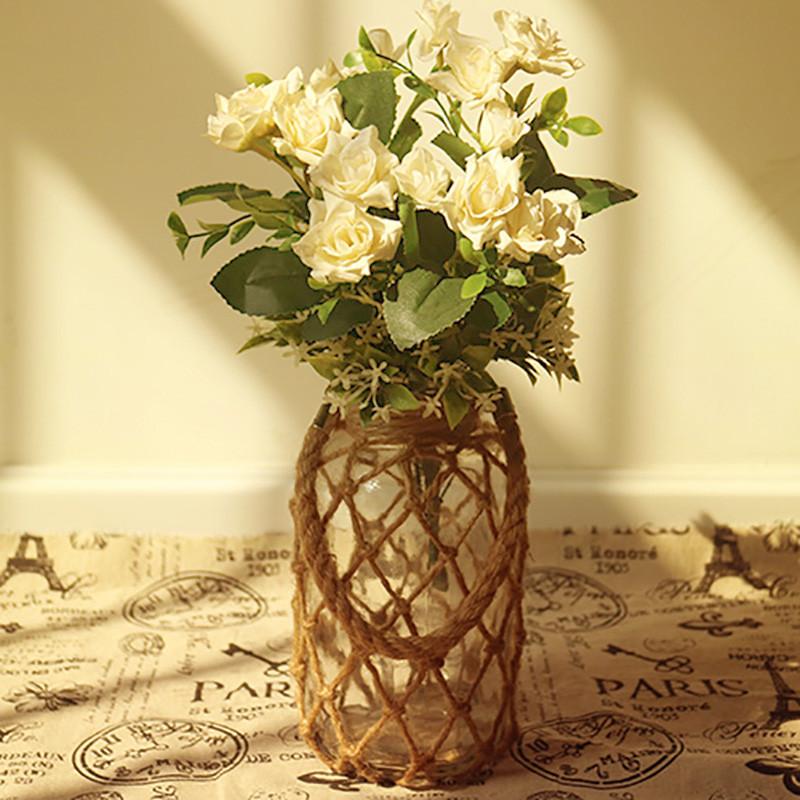 彩丽馆美式麻绳zakka玻璃花瓶 文艺家居装饰 桌面小花