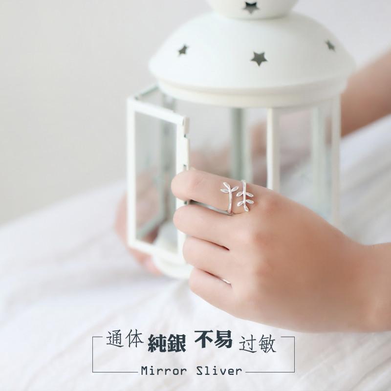 彩丽馆小麋人森林系日韩小树叶植物s925纯银开口戒指学生指环文艺礼